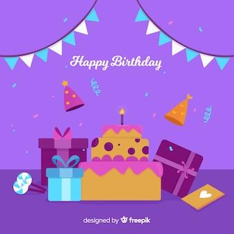 Плоский день рождения фон