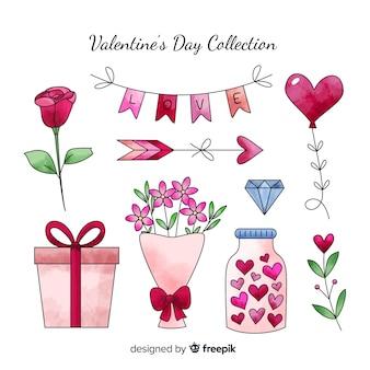 水彩バレンタイン要素コレクション