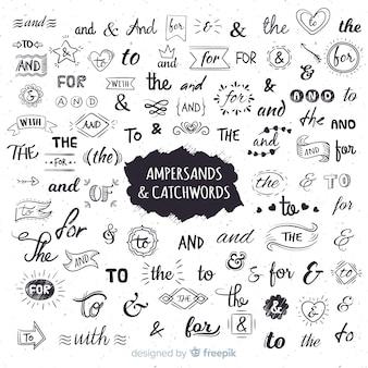 Свадебные надписи амперсанды и лозунги