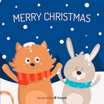 かわいいクリスマスのアニマルズの背景
