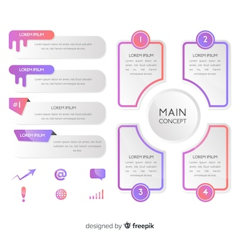 Градиент инфографики элементы коллекции