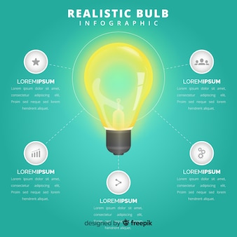 インフォグラフィックのリアルな電球の背景