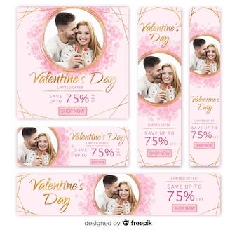 バレンタインデーのウェブバナーコレクション