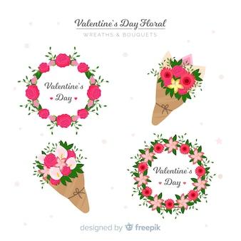バレンタインデーのための花の花輪そして花束のコレクション