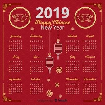 美しい中国の新年のカレンダー