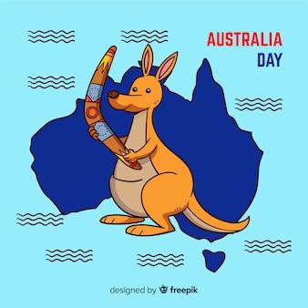 カンガルーとオーストラリアの創造的な日の背景