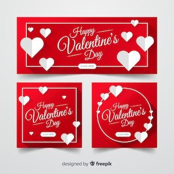 平らなバレンタインデーのバナー