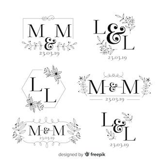 手描きの結婚式のロゴのコレクション
