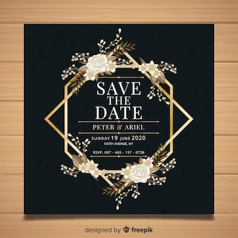 Цветочные с золотой рамкой шаблон карты свадьбы