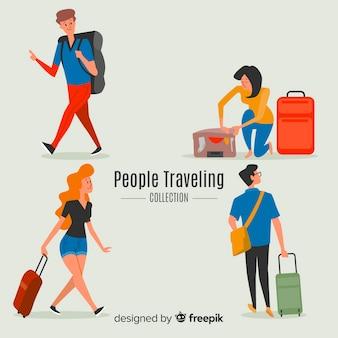 Коллекция рисованной путешественник