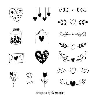 手描きの心のコレクション