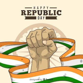 手描きインド共和国記念日の背景