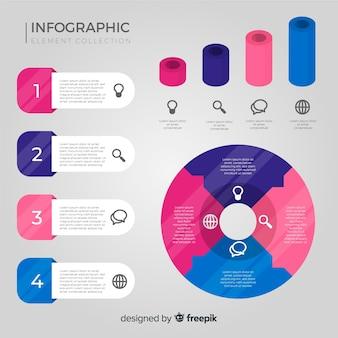 平らなインフォグラフィック要素のコレクション