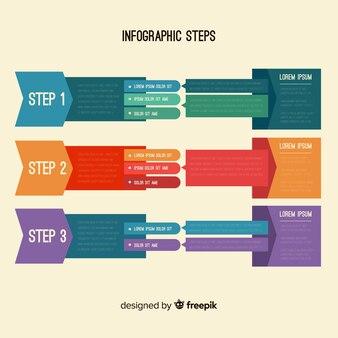 Плоская инфографика со ступенями