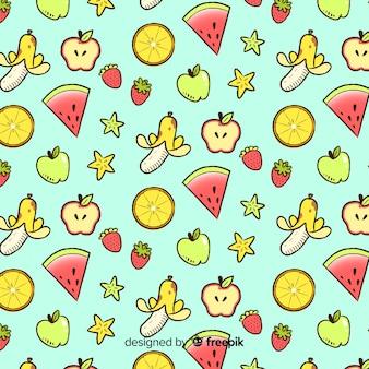 手描きのフルーツの背景