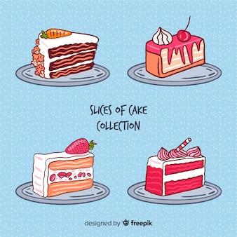 Коллекция рисованной торт ко дню рождения