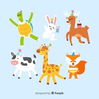 Милый день рождения животных фон