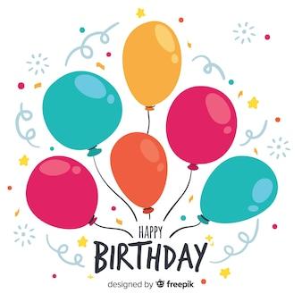 Ручной обращается день рождения с фоном воздушных шаров
