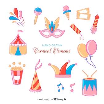 Набор рисованной карнавальных элементов