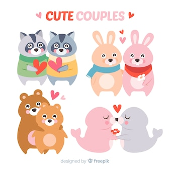 バレンタインデーのかわいい動物カップルコレクション