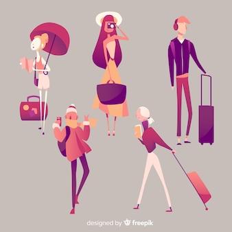 Набор рисованной путешественник