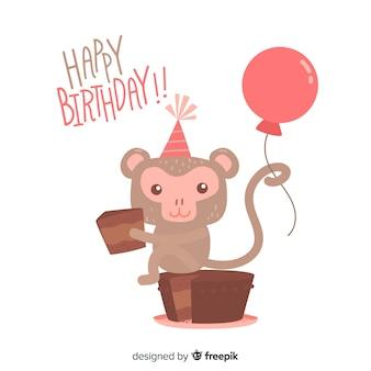 Плоский день рождения животных фон