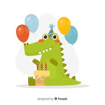平らな誕生日動物の背景