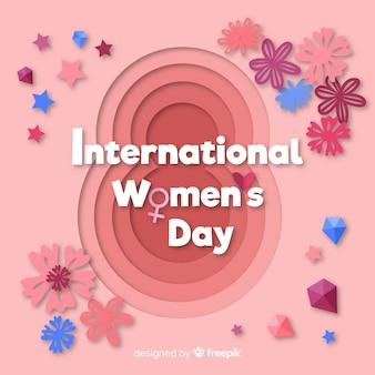 Женский день фон в бумажном стиле