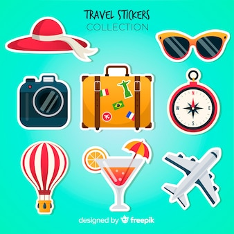 Набор красочных туристических наклеек