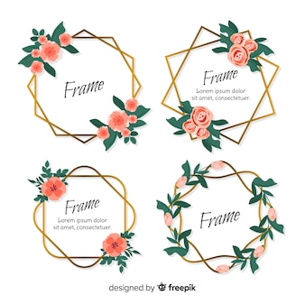 花の幾何学的なフレームセット