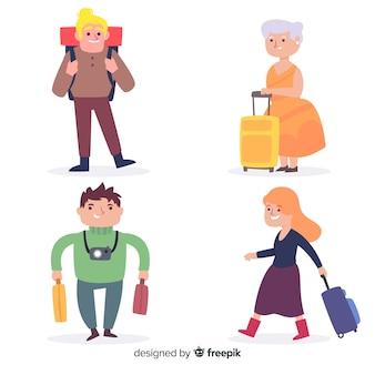 手描きの人々旅行セット