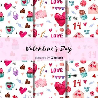 水彩バレンタインパターン
