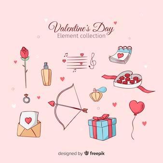 手描きのバレンタイン要素セット