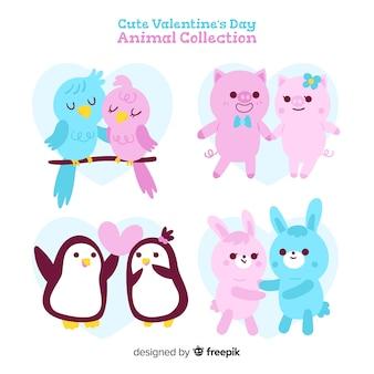 Симпатичная коллекция животных в день святого валентина