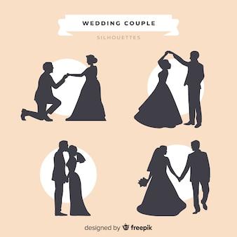 結婚式のカップルのシルエットコレクション