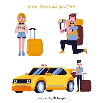 手描きの人々旅行パック