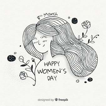手描きの女性の日の背景