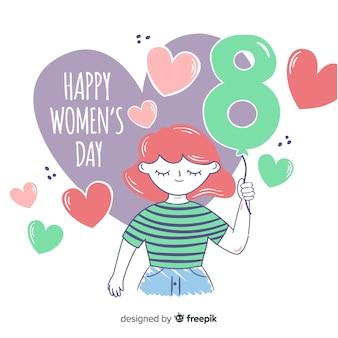 Ручной обращается женский день фон