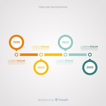 フラットタイムラインインフォグラフィック