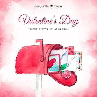 水彩メールボックスバレンタイン背景