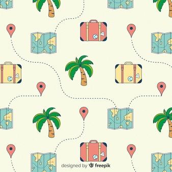 地図とスーツケースの背景