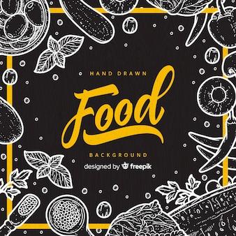 手描き食品の背景
