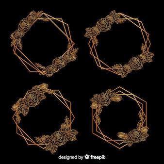 幾何学的なゴールデンフレームコレクションの花