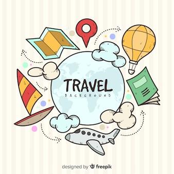 手描きの旅行要素の背景