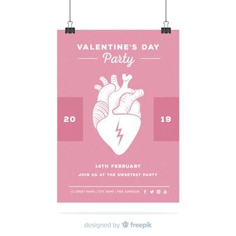 リアルなハートバレンタインパーティーのポスター