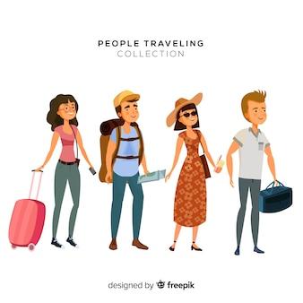 手描きの旅行者セット