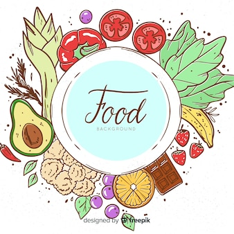 手描き野菜料理の背景