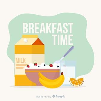 平らな朝食の背景