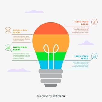 Плоская лампочка инфографики