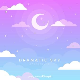 手描きの劇的な空の背景
